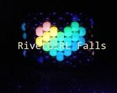 UV/Glow Rainbow PLUR w/ Heart Cuff - Kandi
