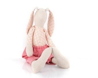 Plush Natural beige linen rabbit doll wearing plaid shirt in cream & burgundy ,Coral woven pants - Stuffed eco bunny - handmade fabric doll