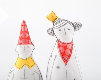 Every princess needs a dwarf - Soft sculpture she in yellow crown red scarf  with metallic dots he in pointy hat - eco timo handmade dolls
