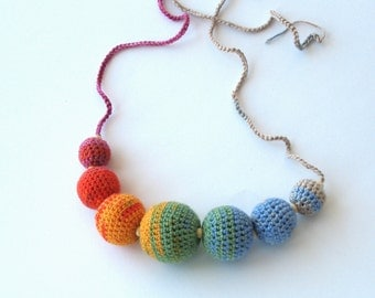 CLEARANCE SALE - Heathered colourful necklace of crocheted balls