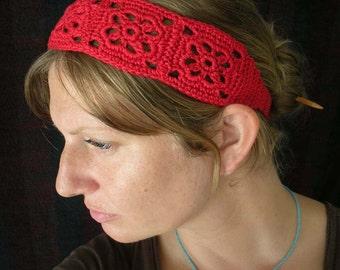 Crochet Headband, Boho Knit Hairband - in Bright Sage Green Cotton