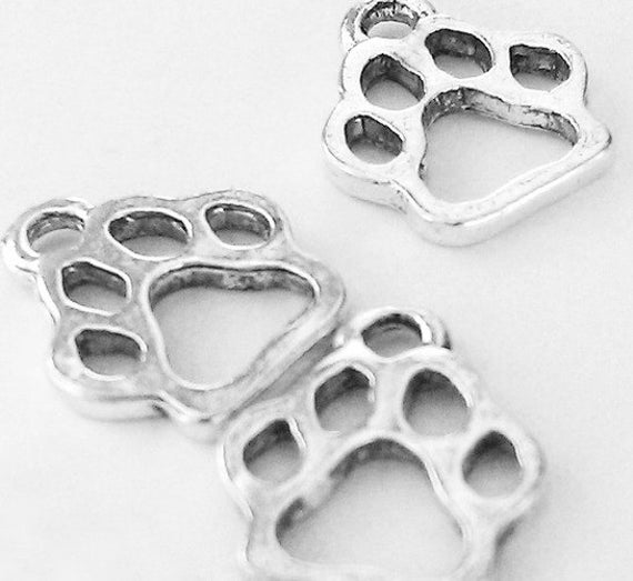 15 Paw Charms Antiqued Silver-Plated cat or dog animal lover