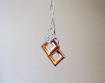 Orange Geometric Earrings, Square Earrings, Swarovski square, Tangerine, Estate Jewelry, Elegant, Long Earrings