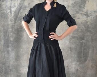 1950s Black Rayon and Satin Dress