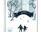 New York City, Central Park, Seasons Greetings, Christmas Card, Ice Skaters, Winter Scene, Red and Green, Holiday Greeting, Handmade Card