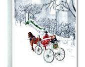 New York, Christmas Card, Central Park, Horse, Carriage, Wreath, Snow, Wintry Scene, Manhattan, Xmas Card, Warmest Greetings of the Season