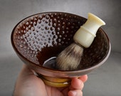 Shaving Bowl Made To Order Leather Brown Dottie Shaving Bowl by Symmetrical Pottery