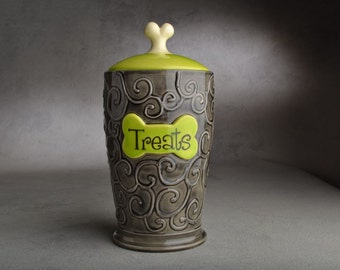 Dog Treat Jar Made To Order Black & Green Dog Treat Jar by Symmetrical Pottery