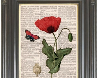 Red Poppy Butterfly print on dictionary COUPON SALE Dictionary art Wall decor Sheet music print Digital print Botanical decor Item No 615