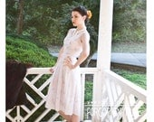 50s 1950s - sleeveless semi sheer lavender cotton frock with butterflies - size XS