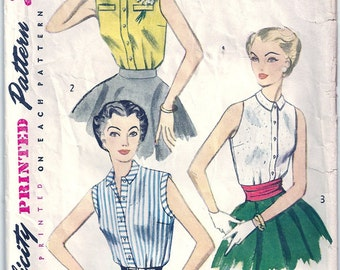 Vintage 1950s Simplicity Sewing Pattern 4238 Misses Blouse Size 12 Bust 30