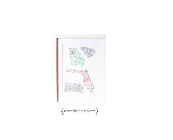 You're Favorite Four States in a White Frame