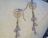 Handmade Bronze Spiral Hook Tanzanite Light Blue Crystal Tear Cluster Steampunk Tribal Dance Vampire Cosplay Fantasy Earrings