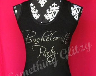 Bachelorette Party Scriptina Rhinestone Tank Top or Tee, Plus Size Bachelorette Party, Bachelorette Tank, Bachelorette Party Shirt, Wedding