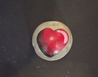 Hand Painted Heart on Rock