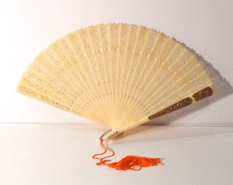 Folding Fan Swan and Birds Vintage Celluloid Fan Gold accent Chinese Hand Fan Plastic Carved Lace Look Bone Cream 1950s Lace