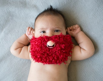 Red Curly Custom Hand Painted & Hand Cut Beard Pacifier by PiquantDesigns