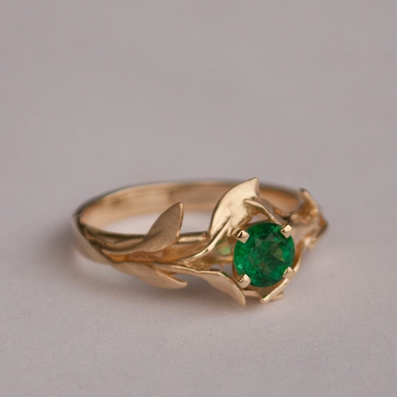 Emerald Gemstone Engagement Rings Leaves Engagement Ring No 4