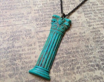Greek Column Necklace - Architecture Jewelry - Corinthian Pillar - Greek Necklace - Gift Under 30 - Verdigris - Turquoise - Greece - Classic