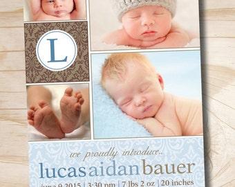 DAMASK INITIAL Birth Announcement - You Print, printable, DIY