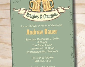 Vintage HUGGIES & CHUGGIES bbq, beer and babies Diaper Party Invitation - Printable Digital file or Printed Invitations