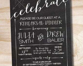 CHALKBOARD CELEBRATE Poster Engagement Party Invitation / Couples Shower / Rehearsal Dinner - Printable digital file or printed invitations