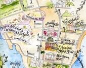 OLD PRICE Custom Wedding Map- Calligraphy and Watercolor