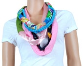 Scarf - Infinity Scarf - Womens Chunky Floral Print and Stripes Scarf
