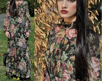 70s Romantic Goth Sheer Maxi Dress - Long Sleeve Maxi Dress - Floral Grunge Festival Dress - Small