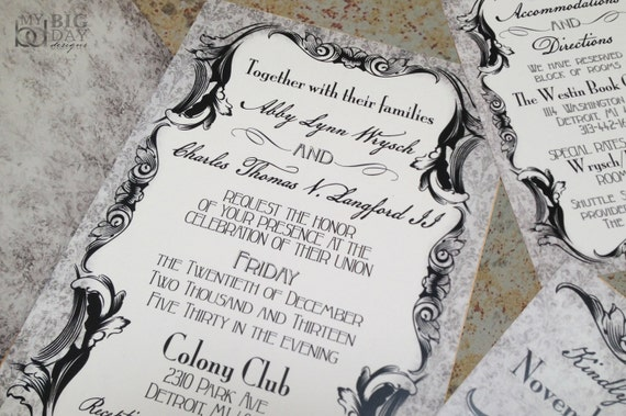 gothic victorian wedding invitation set. antique scrolls, Wedding invitations