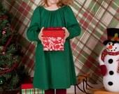 Emerald Green Girls Peasant Dress  - Organic Cotton - Eco Friendly -  Organic Baby