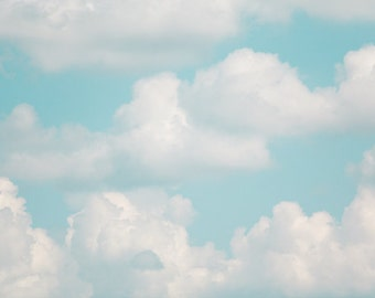 Clouds Photo - Fine Art Photography, cloud, print, nursery decor, baby girl, baby boy, blue, teal, flying, soaring, wall art, nursery art