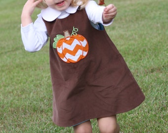 Girls Pumpkin appliqued Chocolate Brown Corduroy Jumper Dress