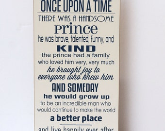 Baby Boy Nursery Decor, Once Upon A Time Prince, Prince Wall Art, Nursery Decor, Boy Room Wall Decor, Wood Sign, Wooden Sign