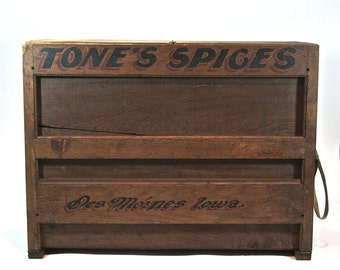 Vintage Tone's Spice Cabinet / Vintage Spice Rack / Industrial Table