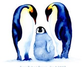 Customized Baby print - Penguin family love - add a name and birth date - blue and orange