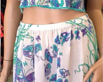 RARE 1960's Emilio Pucci Crop Top & Skirt Cotton Combo