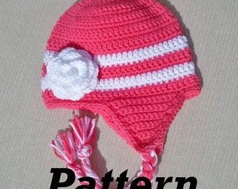 CROCHET PATTERN: Earflap Flower Hat, Toddler Winter Hat Pattern, Girls Flower Hat Pattern, Crochet Baby Hat Pattern, Earflap Hat Pattern