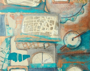 Place and Time,mixed-media/acrylic on canvas, map art