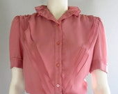 vintage 70s 80s blouse sheer chiffon dusty rose secretary ruffles medium