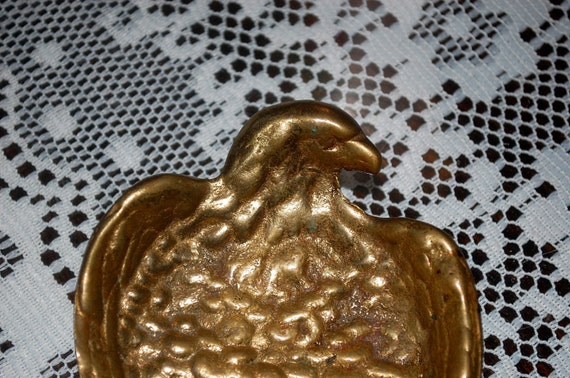 Vintage Brass Eagle Ashtray or Paperweight  ~ Dish ~ Small Tray ~ Mid Century Americana Tobaccoania