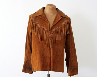 1970s fringe leather jacket, suede pullover, men's Pioneer Wear