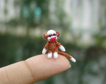 dollhouse miniature baby sock monkey - micro crochet amigurumi animal - 1/2 inch