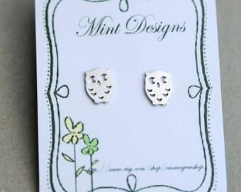 Silver Owl Earrings,Earrings,Earrings,Wedding,Earrings Post,Owl,Post,Silver Earrings