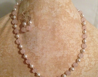 Rose Quartz , swarovski  pearls  and Sterling Silver necklace and earring set