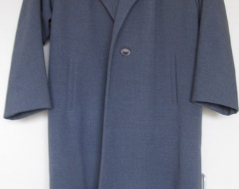 Vintage 1950s Women's Blue Grey Wool 3/4 Length Sleeve By Lepshire
