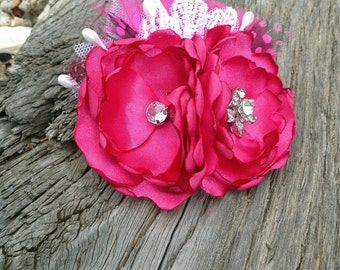 Handmade Hot Pink Double Bloom Fabric Hair Flower