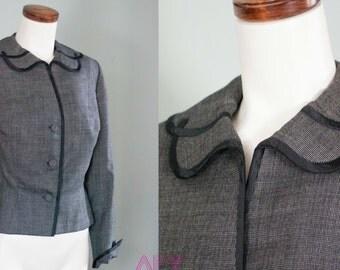 Vintage 50s Jacket New Look Nipped Waist Petal Collar Edith Small Mad Men M