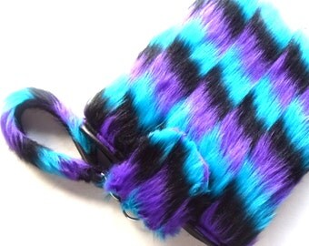 Fluffy Tablet Case, Tablet Cover, Tablet Sleeve, Mini Laptop Case, Tablet Accessory, Blue Purple Black, Zigzag Pattern, Faux Fake Fur Furry