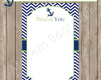 Thank You Note Card - Nautical Navy and Lime Green Chevron Baby Shower Printable 4x6 Thank You Note Cards-  Nautical2 INSTANT DOWNLOAD